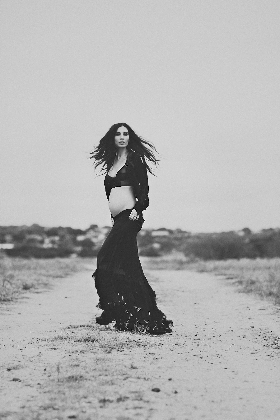 high fashion maternity portrait, artistic maternity portraits, austin portrait and wedding photographer, pace bend park, sisters of the black moon